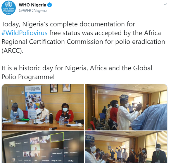 WHO Nigeria Twitter Announcement on Polio-free Nigeria